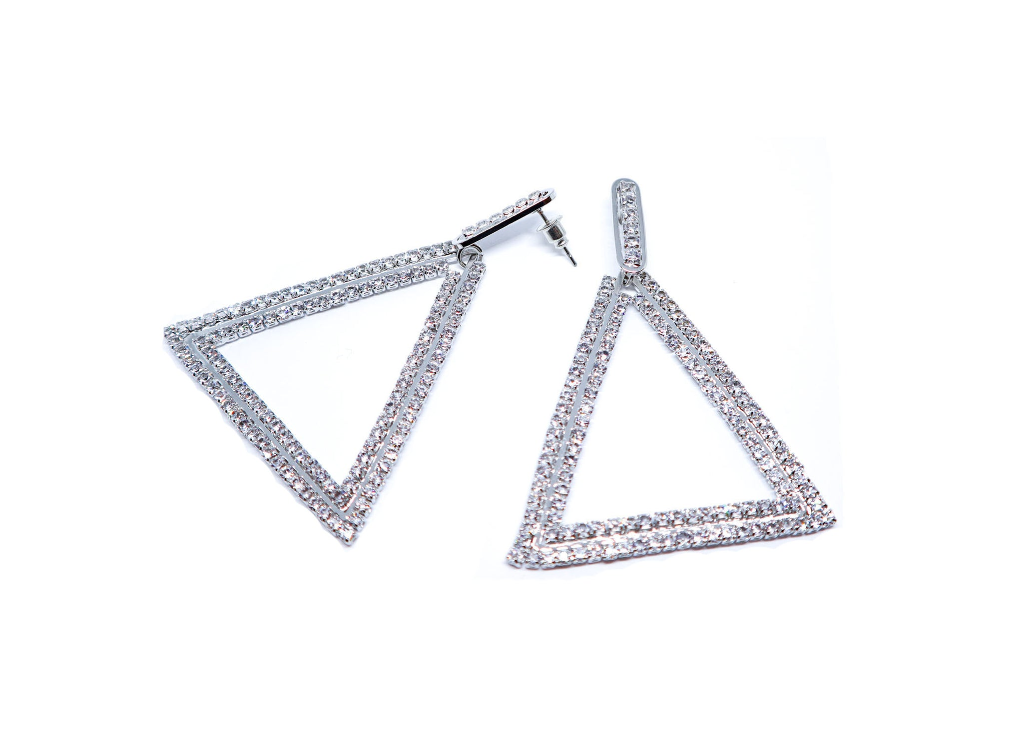 Silver triangle  studs Droop earrings