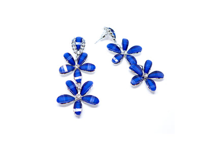 Blue Flowers Droops earrings