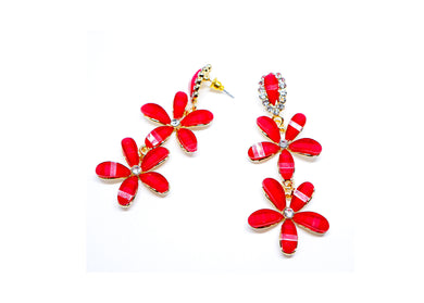 Red Flowers Droops earrings