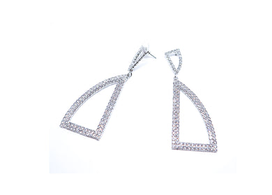 Silver studs Droop earrings