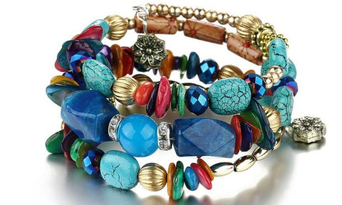 Boho Multi-Layer Beaded Bracelets dark blue