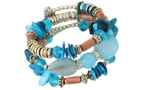 Boho Multi-Layer Beaded Bracelets Blue