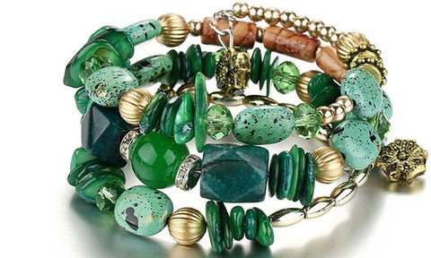 Boho Multi-Layer Beaded Bracelets Green