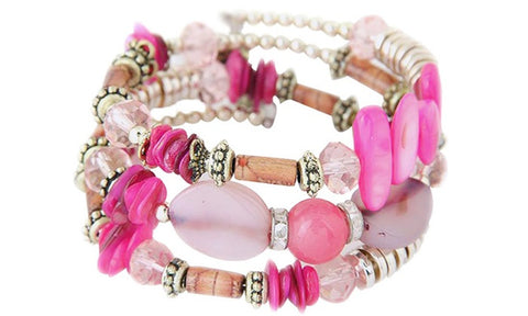 Boho Multi-Layer Beaded Bracelets Pink