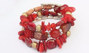 Boho Multi-Layer Beaded Bracelets Red