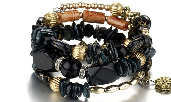 Boho Multi-Layer Beaded Bracelets Black