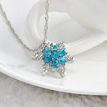 lady Blue Crystal Snowflake Zircon Flower Silver Necklaces & Pendants Jewelry gift for Women girls Wholesale