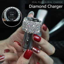 Diamond USB Car Charger For Mobile Phone Tablet GPS Fast Charger Car-Charger Dual USB