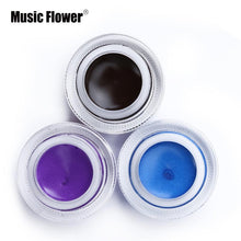Black Waterproof Eyeliner Gel, Makeup Cosmetic Gel Eye Liner With Brush 24 Hours Long-lasting
