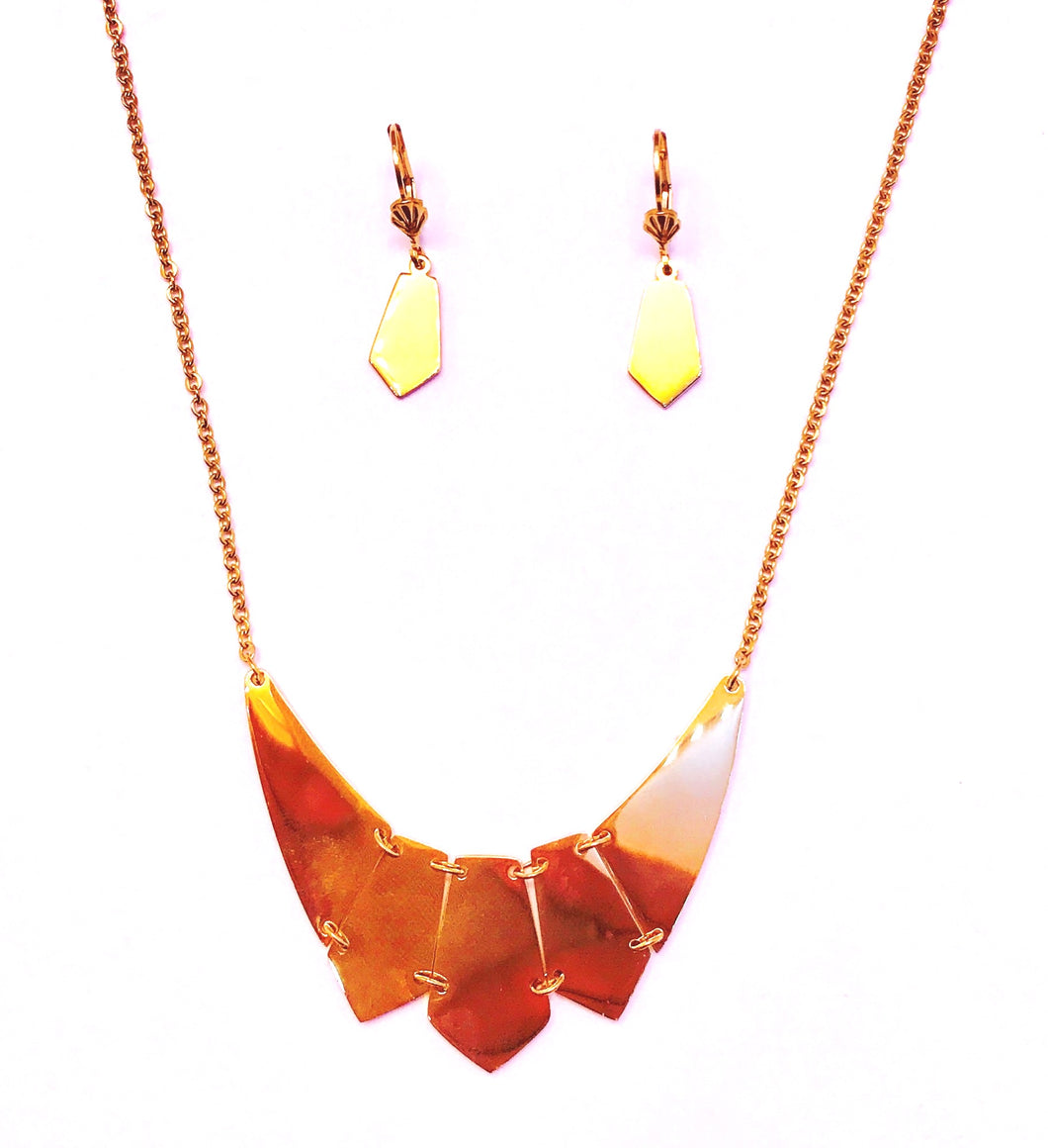 gold necklace + Earrings set