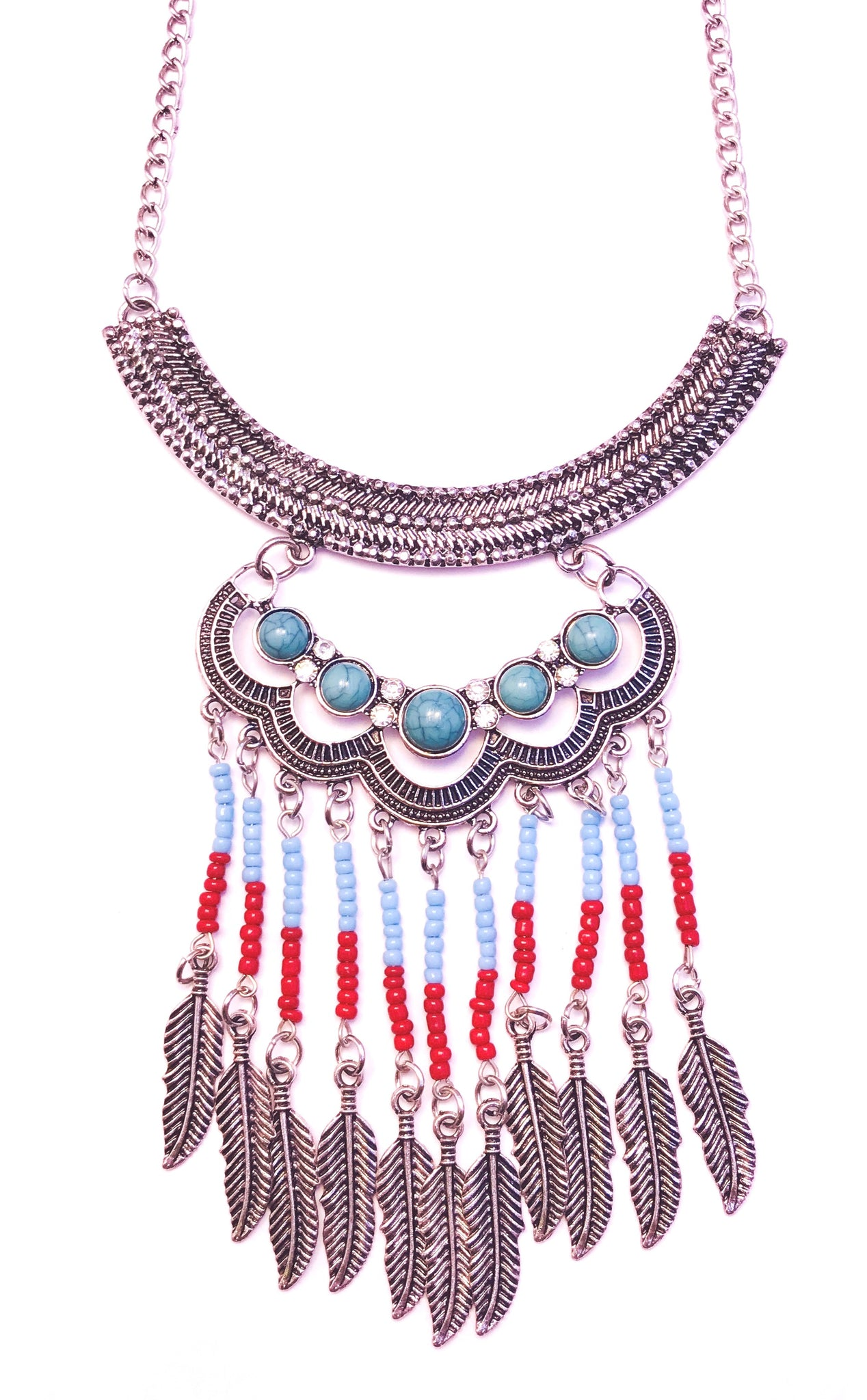 Blue and red feather necklace