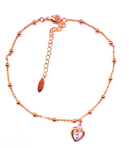 Golden stud heart anklet