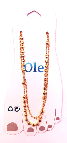 Double golden chains anklet