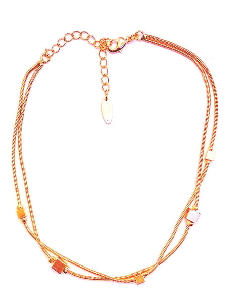 double golden chain with small golden cubes anklet