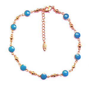 Gold and blue anklet
