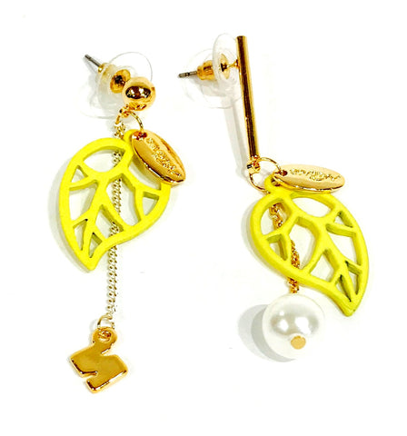 Yellow Tree-leafs gold-tone earrings  Ole