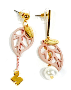 Pink Tree-leafs  gold-tone earrings  Ole