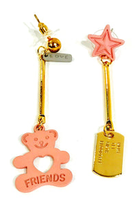 Pink Bear and star -  gold-tone earrings  Ole