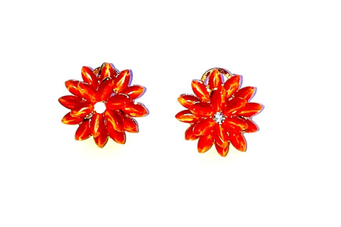 Red flower earrings  Ole