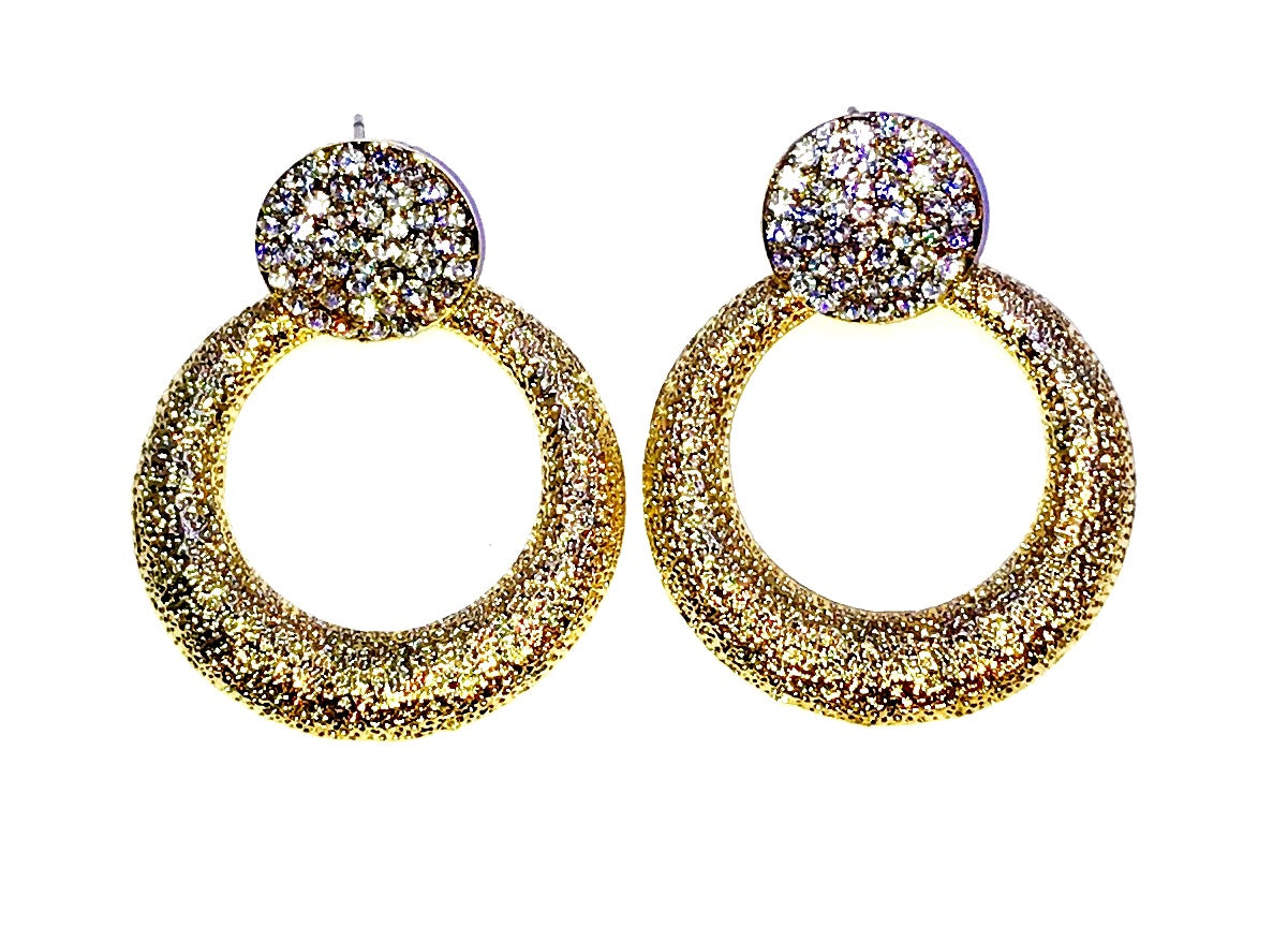 Gold Tone round earrings  Ole