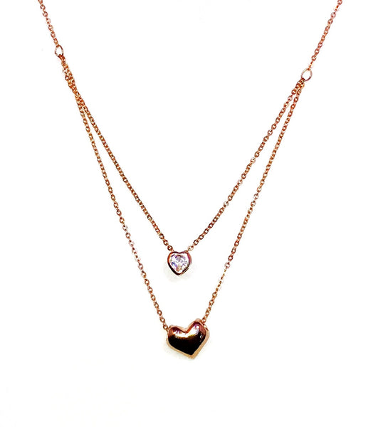 Golden Double Heart Necklace Ole