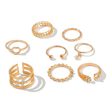 8pcs/sets Bohemian Geometric Rings Sets Clear Crystal Stone Gold Chain Opening Rings