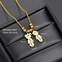 2 Girls Stainless Steel Pendant Necklace