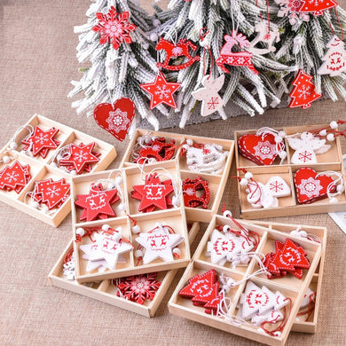 10pcs 5cm Christmas Wooden Decorations Ornaments