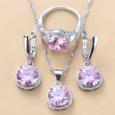 925 Silver Wedding Jewelry Zircon Sets Earrings, Necklace and Ring