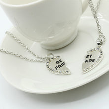 2 Pcs BFF Necklace Crystal Heart Pendant Best Friend Letter Necklace
