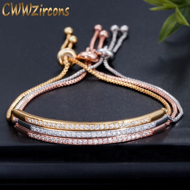 Zircons Adjustable Bracelet With Bangle Gold, Rose-Gold and Silver Colors