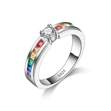 925 Sterling Silver Round Colorized Crystal Wedding Ring