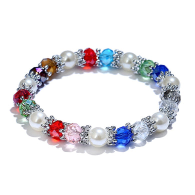 Fashion Shiny Colorful Bangle Rhinestone Faux Pearl Charm Bracelets for Women Wedding Jewelry Birthday Gift