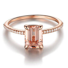 2Pcs Ring/Set Rose Gold Filled White Crystal Zircon Wedding Engagement Ring Size 6-10