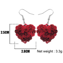 Bonsny Acrylic Valentine's Day Heart Shape Rose Earrings Drop Dangle Jewelry For Women Girl Teen Kid Lover Charm Decoration Gift