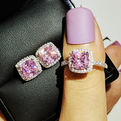 Pink 925 Sterling Silver Ring And Stud Earring Zircon Jewelry Set