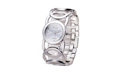 Immortal Love Accent Loop Bracelet Watches Silver color