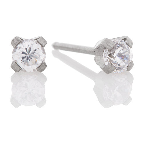 Ear Piercing Stainless Steel 3mm CZ - Long Post