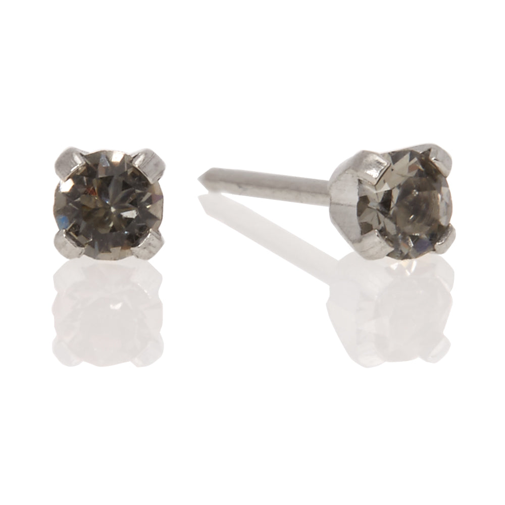 Ear Piercing Stainless Steel Black Diamond 3mm Crystal