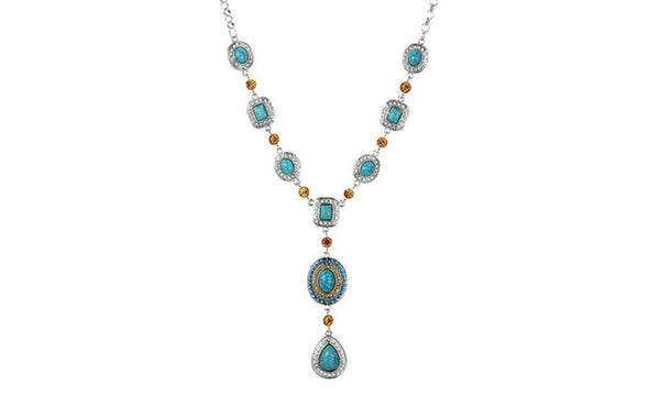 Turquoise Citrine Iced Water Drop Necklaces