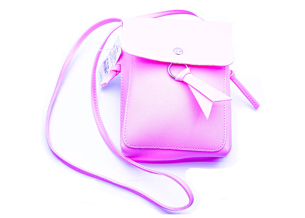 Pink cross body bag.