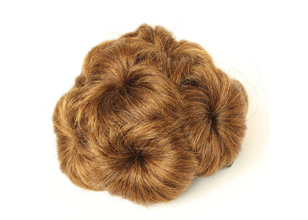 Light Auburn & Dark Blonde Scrunchy Updo Wavy Straight Hair Bun Combs Clip
