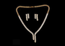 Golden Color Diamonds set Earrings + Necklaces