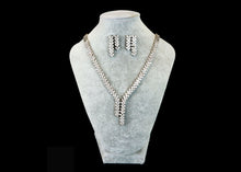 Silver Color Diamonds set Earrings + Necklaces