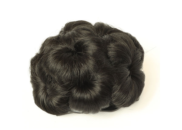 Comb-dark Black Scrunchy Updo Wavy Straight Hair Bun Combs Clip