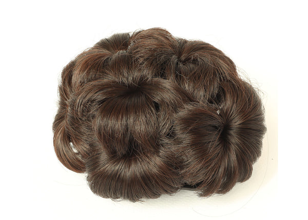 Medium Brown-thicker Scrunchy Updo Wavy Straight Hair Bun Combs Clip