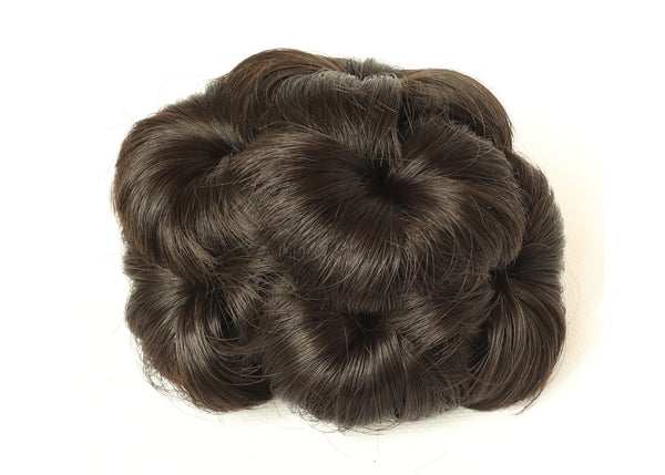 Dark Grey-thicker Scrunchy Updo Wavy Straight Hair Bun Combs Clip