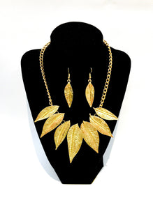Golden tree leafs set Earrings + Necklace  Ole