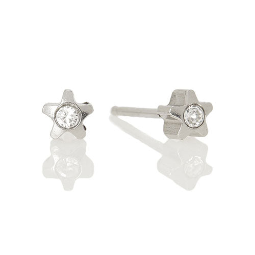 Ear Piercing stainless steel star with crystal
