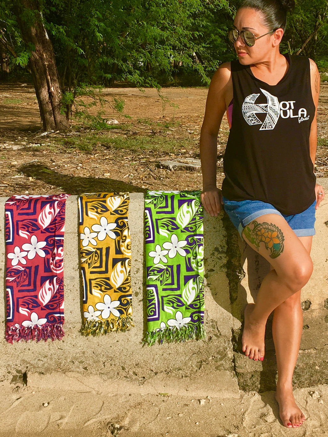 HOT HULA fitness® Lava Lavas - Plumeria Tribal Prints
